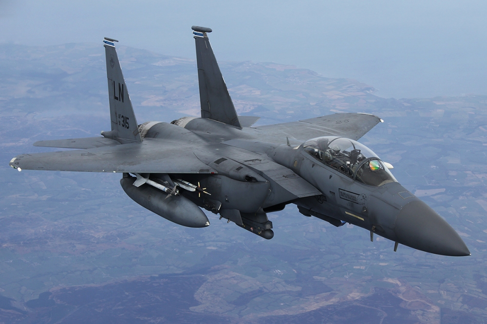 F-15E Strike Eagle 91-0315 approaches the boom to receive fuel.