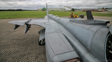 Looking back over the sleek airframe of the Jaguar GR.3.
